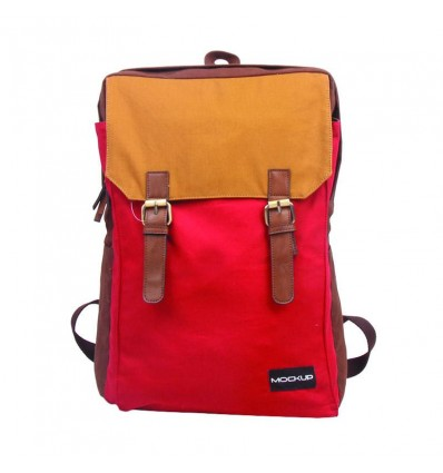 MOCK UP BBP.49 THREE COLOR BACKPACK – DARK CHOCOLATE RED CAMEL