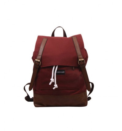 MOCKUP BBP.57 DAILY BACKPACK TAS UNISEX – MAROON AND CHOCO BROWN