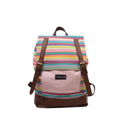 DAILY BACKPACK MOCKUP BBP.57 TAS UNISEX – BABY PINK AND CHOCO BROWN
